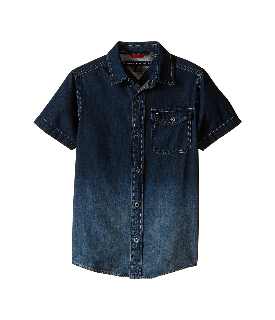 Tommy Hilfiger Kids - Samson Short Sleeve Denim Shirt (Big Kids) (Medium Blue Wash) Boy's Short Sleeve Button Up