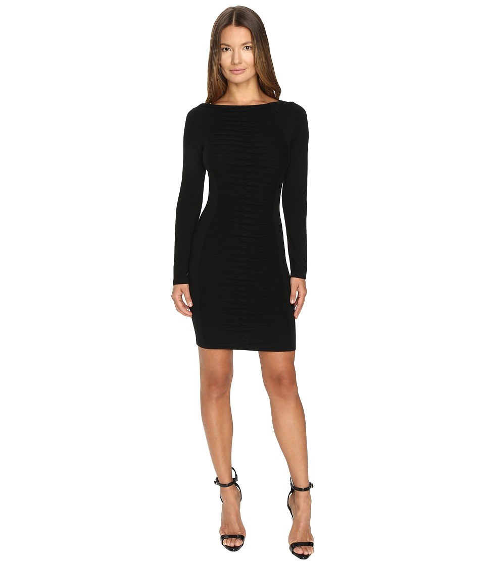 Versace Collection Long Sleeve Knit Boat Neck Dress (Nero) Women
