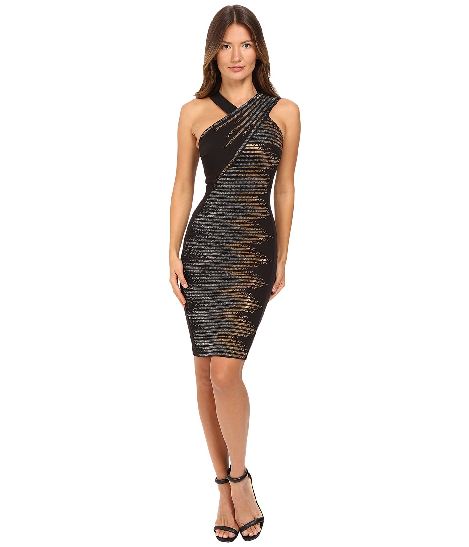 Versace Collection - Sleeveless Embellished Dress (Nero/Oro) Women's Dress