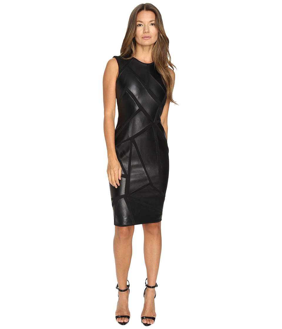 Versace Collection Leather Geo Sleeveless Dress (Nero) Women