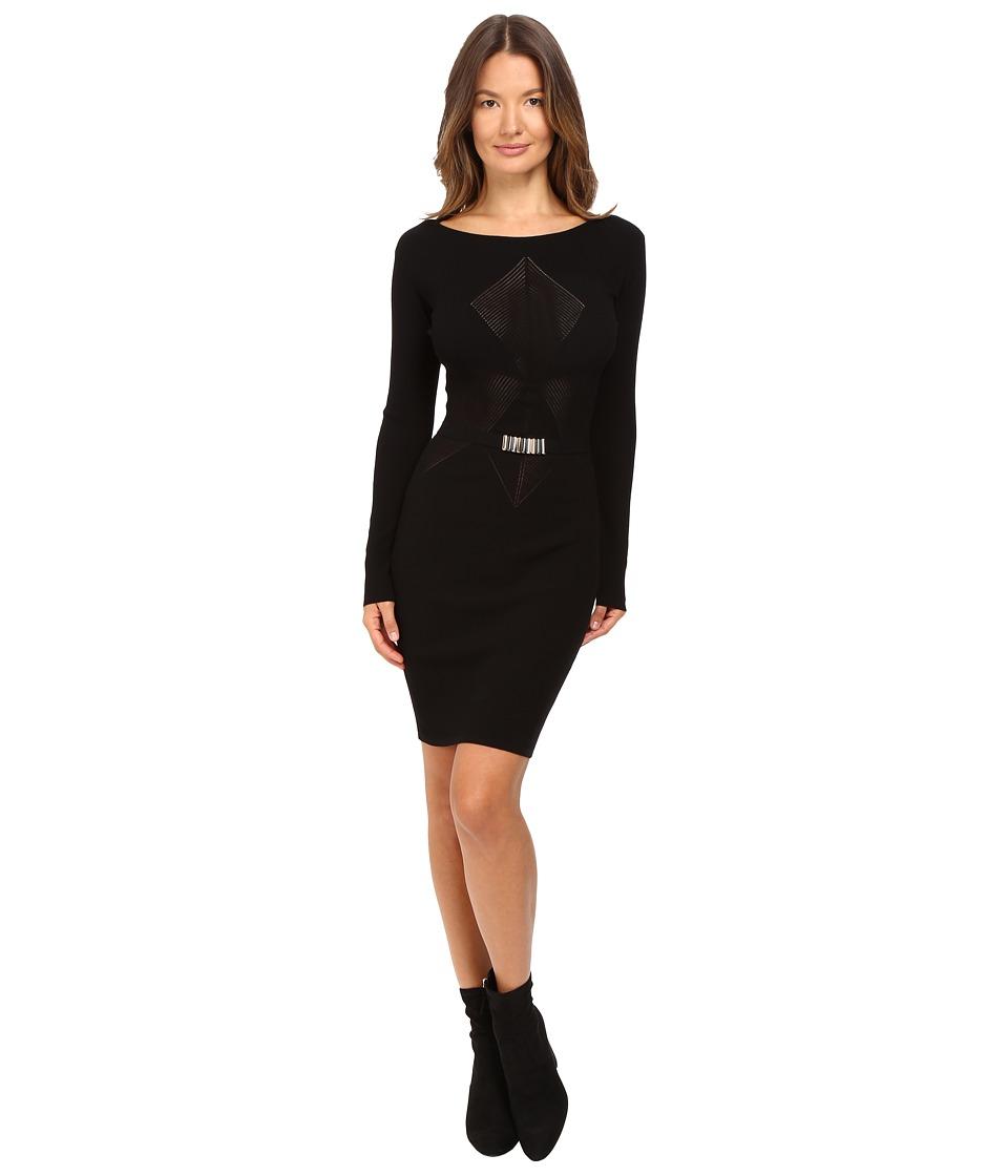Versace Collection - Long Sleeve Knit Geo Dress (Black) Women's Dress