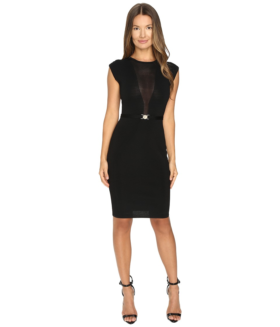 Versace Collection - Sleeveless Mesh Inset Dress (Nero) Women's Dress