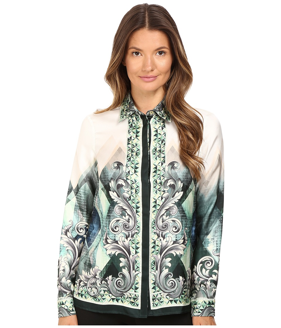 Versace Collection - Long Sleeve Printed Blouse (Teal White) Women's Blouse