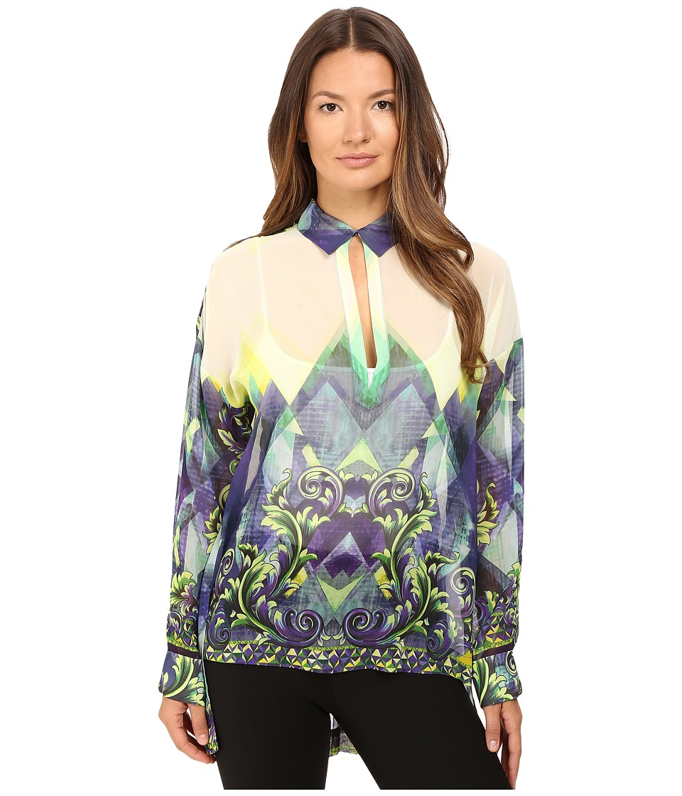 Versace Collection - Long Sleeve Printed High-Low Blouse (Blue/White) Women's Blouse