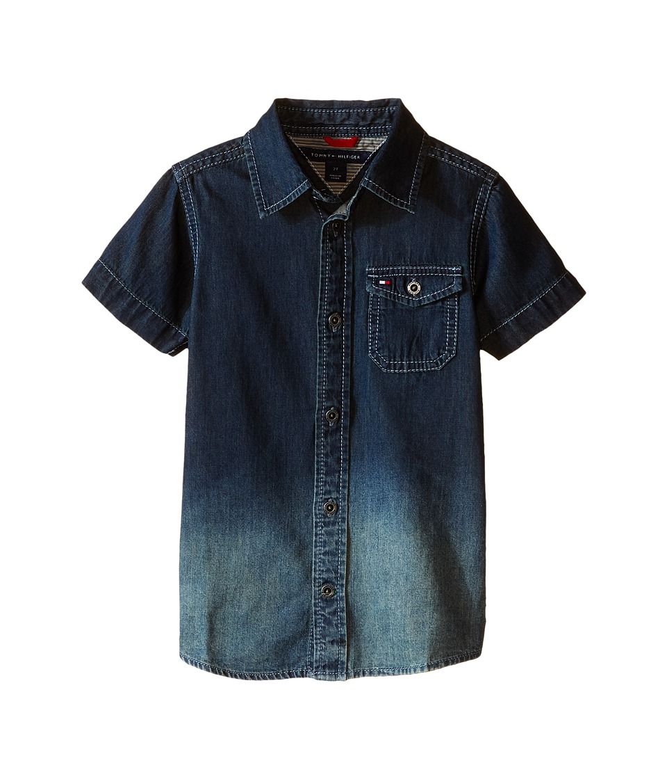 Tommy Hilfiger Kids - Samson Short Sleeve Denim Shirt (Toddler/Little Kids) (Medium Blue Wash) Boy's Short Sleeve Button Up