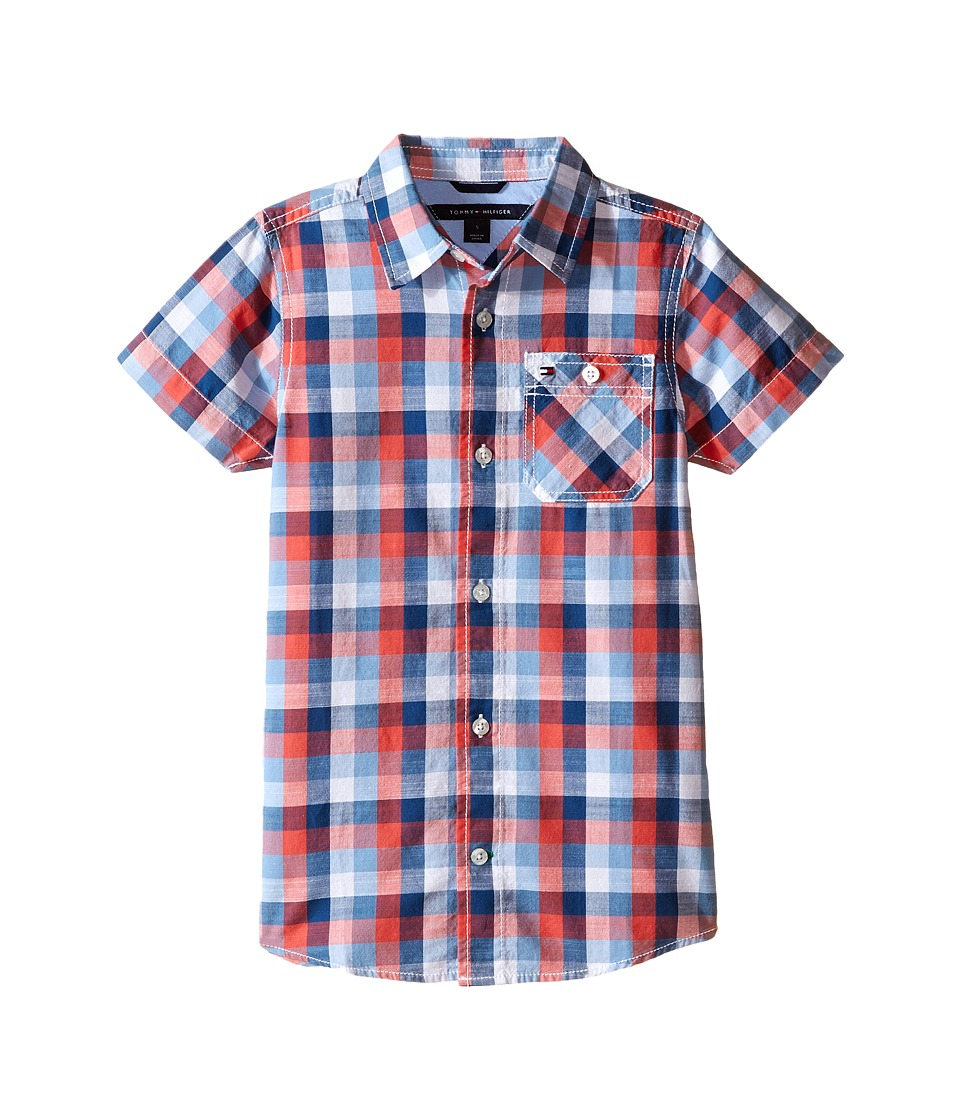 Tommy Hilfiger Kids - Wolfred Short Sleeve Woven Shirt (Toddler/Little Kids) (White) Boy's Short Sleeve Button Up