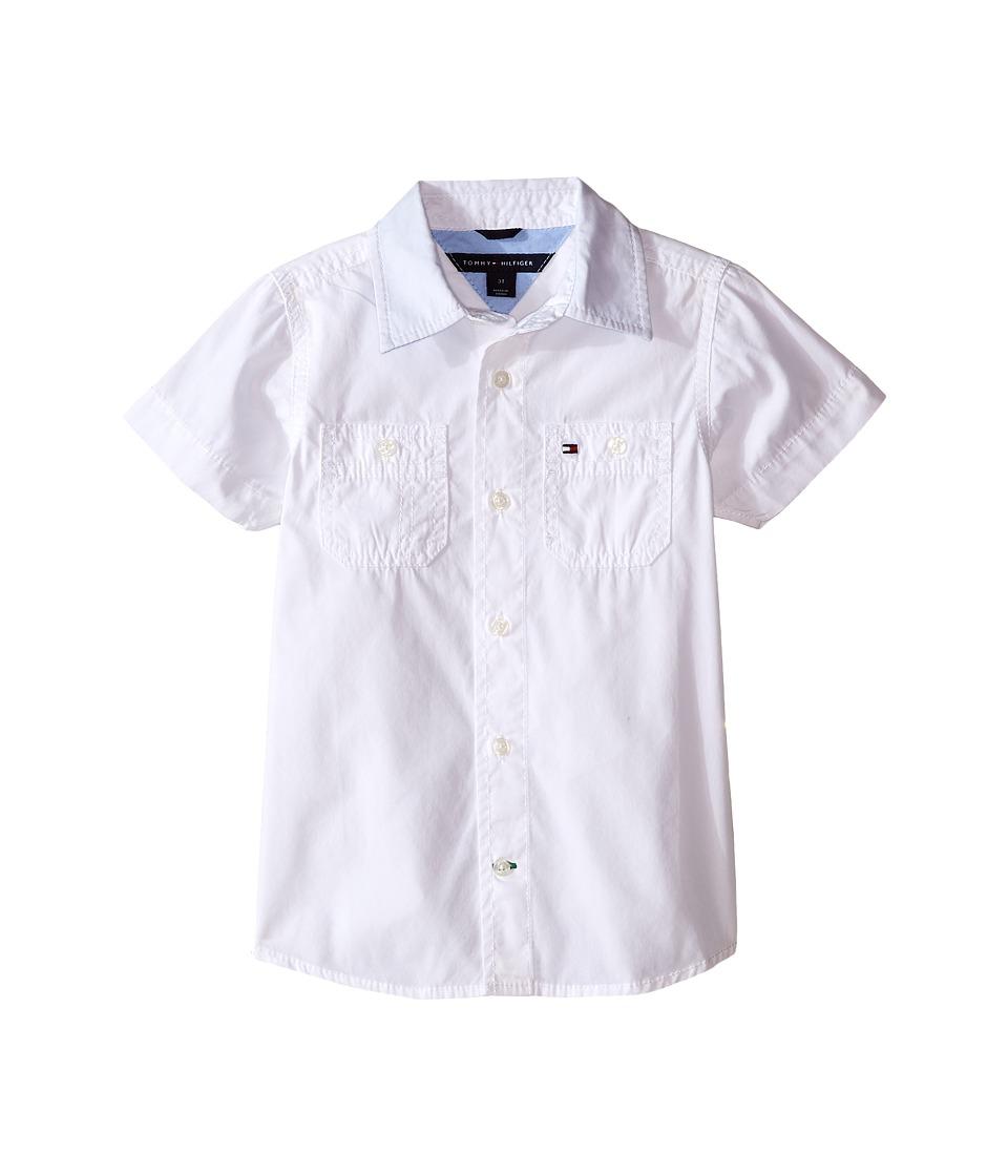 Tommy Hilfiger Kids - Back Flag Short Sleeve Woven Shirt (Toddler/Little Kids) (White) Boy's Short Sleeve Button Up