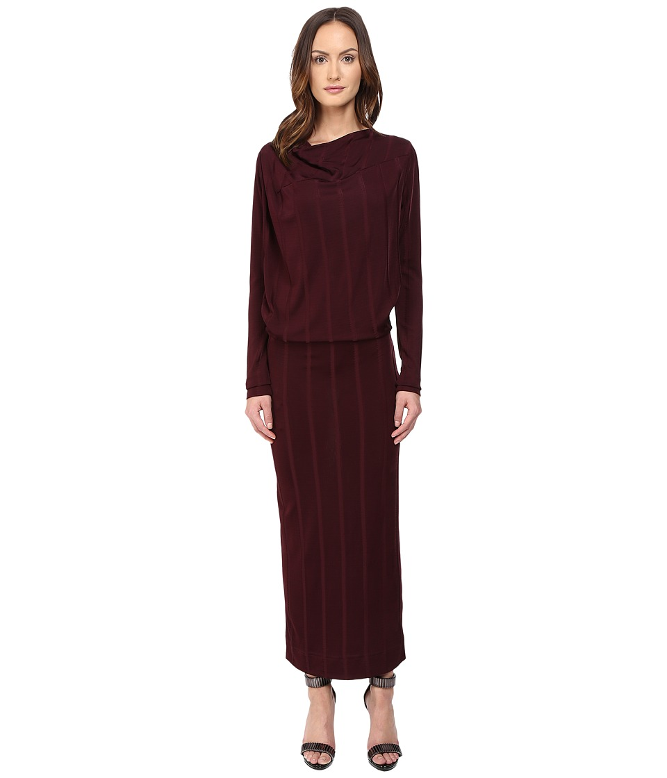 Vivienne Westwood Midi Long Sleeve Boudicca Dress (Bordeaux) Women