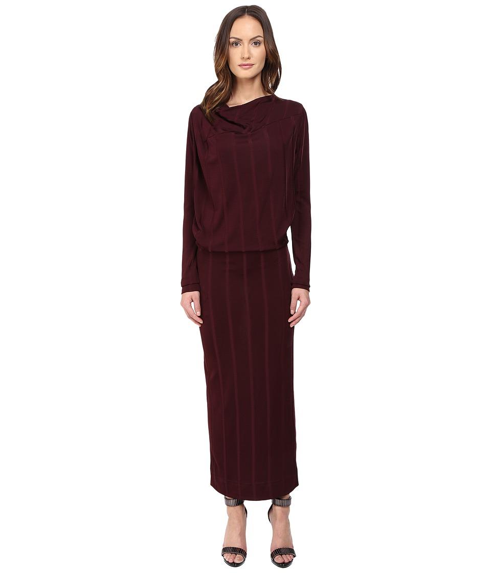 Vivienne Westwood - Midi Long Sleeve Boudicca Dress (Bordeaux) Women's Dress