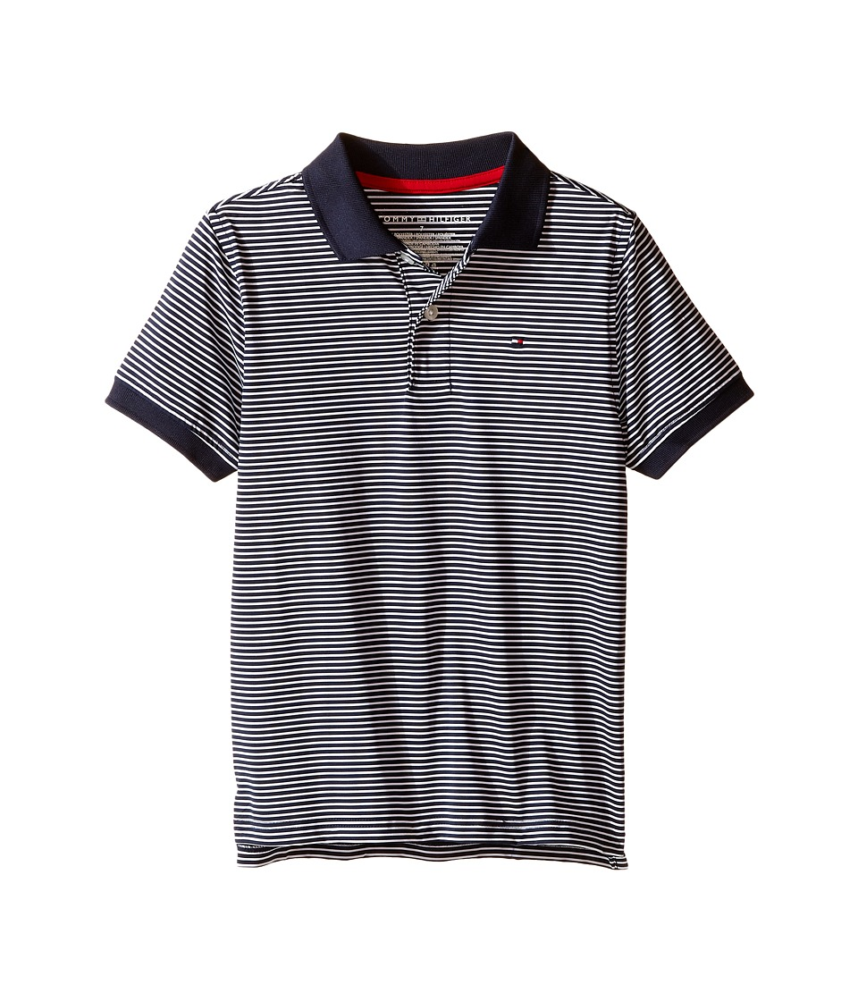 Tommy Hilfiger Kids - Feeder Stretch Synthetic Stripe Polo (Toddler/Little Kids) (Swim Navy) Boy's Clothing