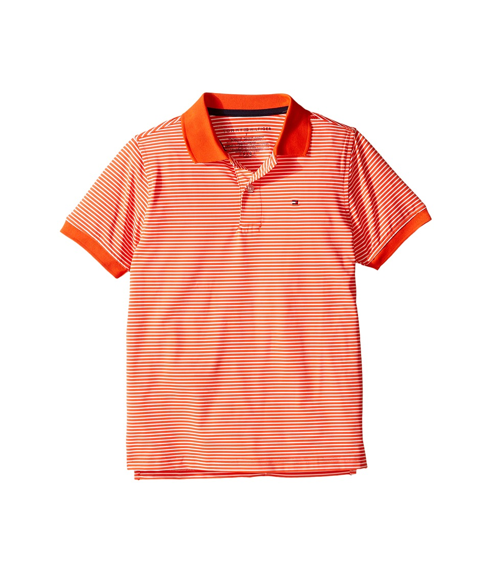 Tommy Hilfiger Kids - Feeder Stretch Synthetic Stripe Polo (Toddler/Little Kids) (Cherry Tomato) Boy's Clothing