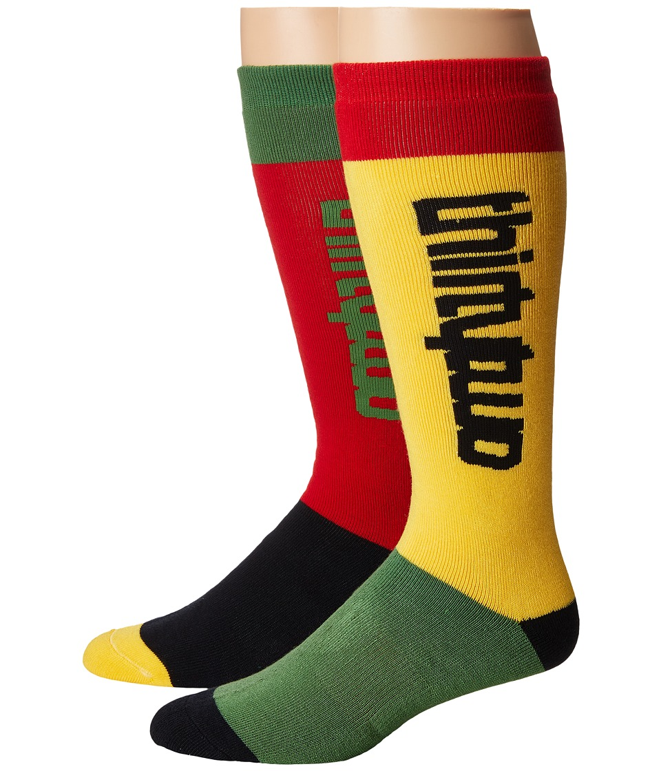 thirtytwo - Color Blocked Sock (Red/Gold) Men's Crew Cut Socks Shoes