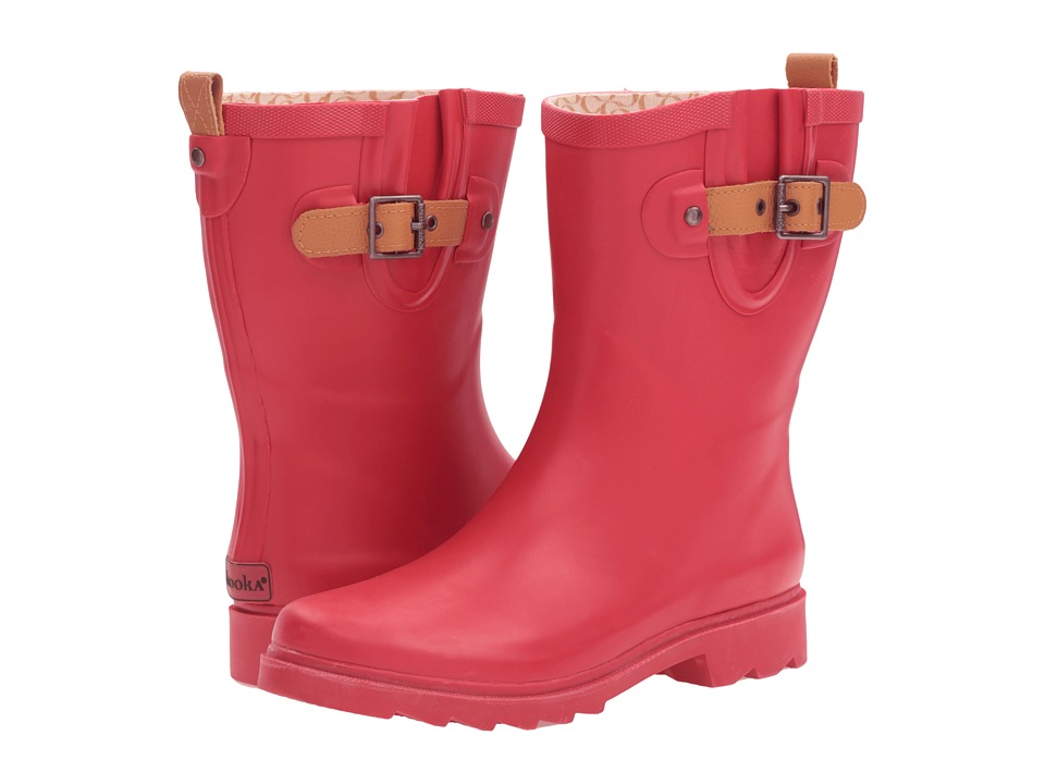 Chooka Top Solid Mid Rain Boot (Red) Women
