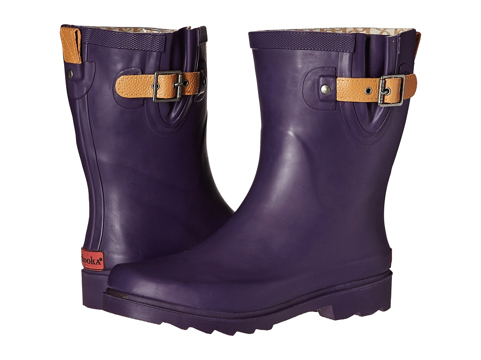 Chooka Top Solid Mid Rain Boot (Eggplant) Women
