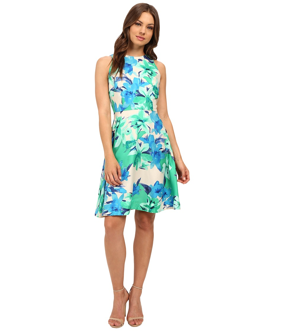 Donna Morgan - Sleeveless Poly Twill Apron Dress (Turf Multi) Women's Dress