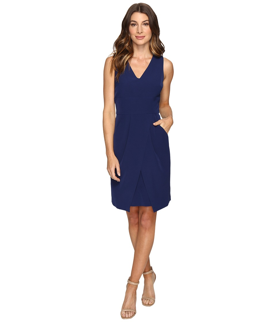 Donna Morgan - Crepe Dress w/ Tie Detail at Waist and Overlapping Skirt (Ink) Women's Dress