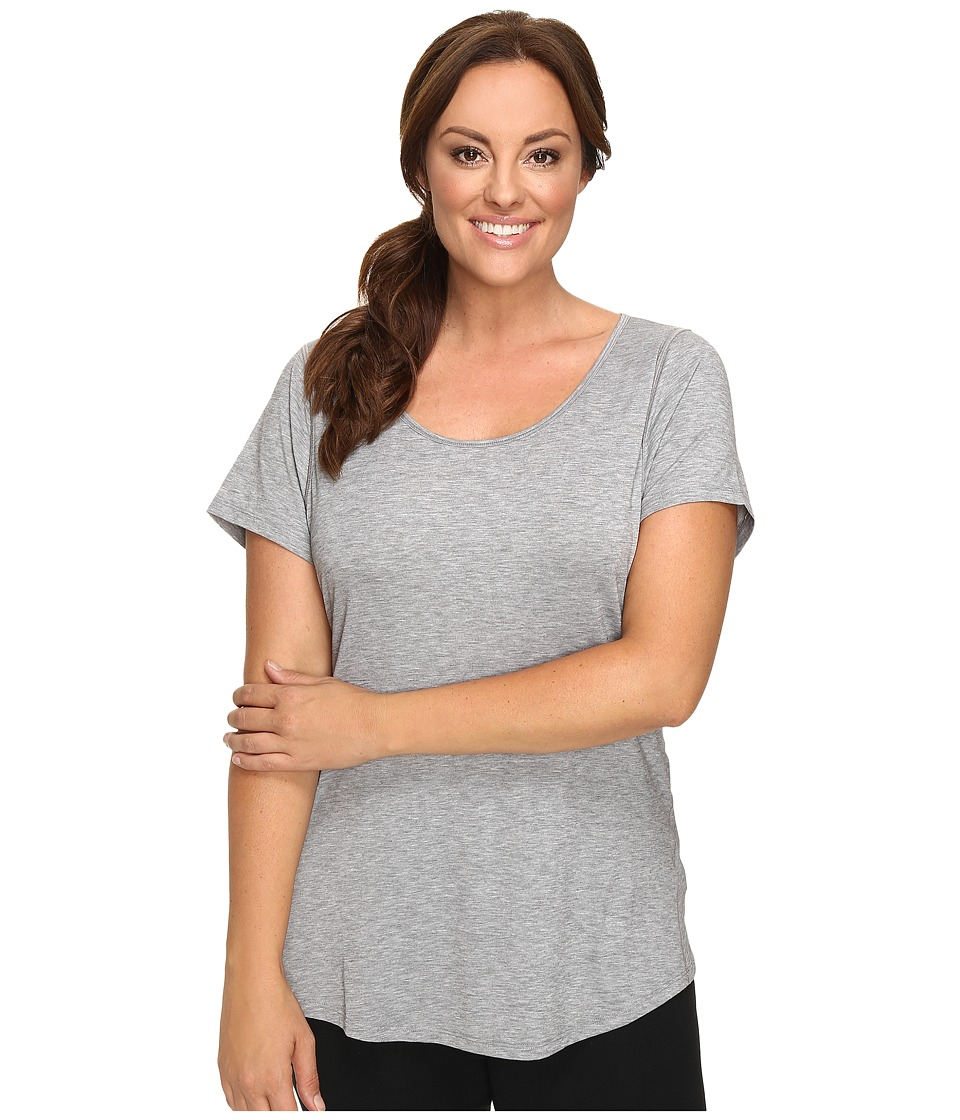 Lucy - Extended Short Sleeve Workout Tee (Asphalt Heather) Women's Workout