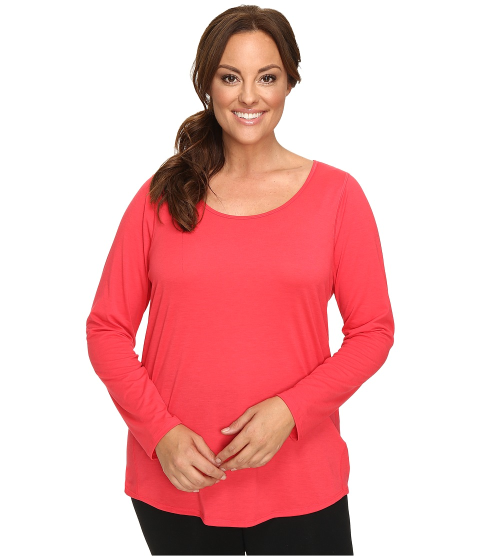 Lucy - Extended Long Sleeve Workout Tee (Passion Pink) Women's Workout