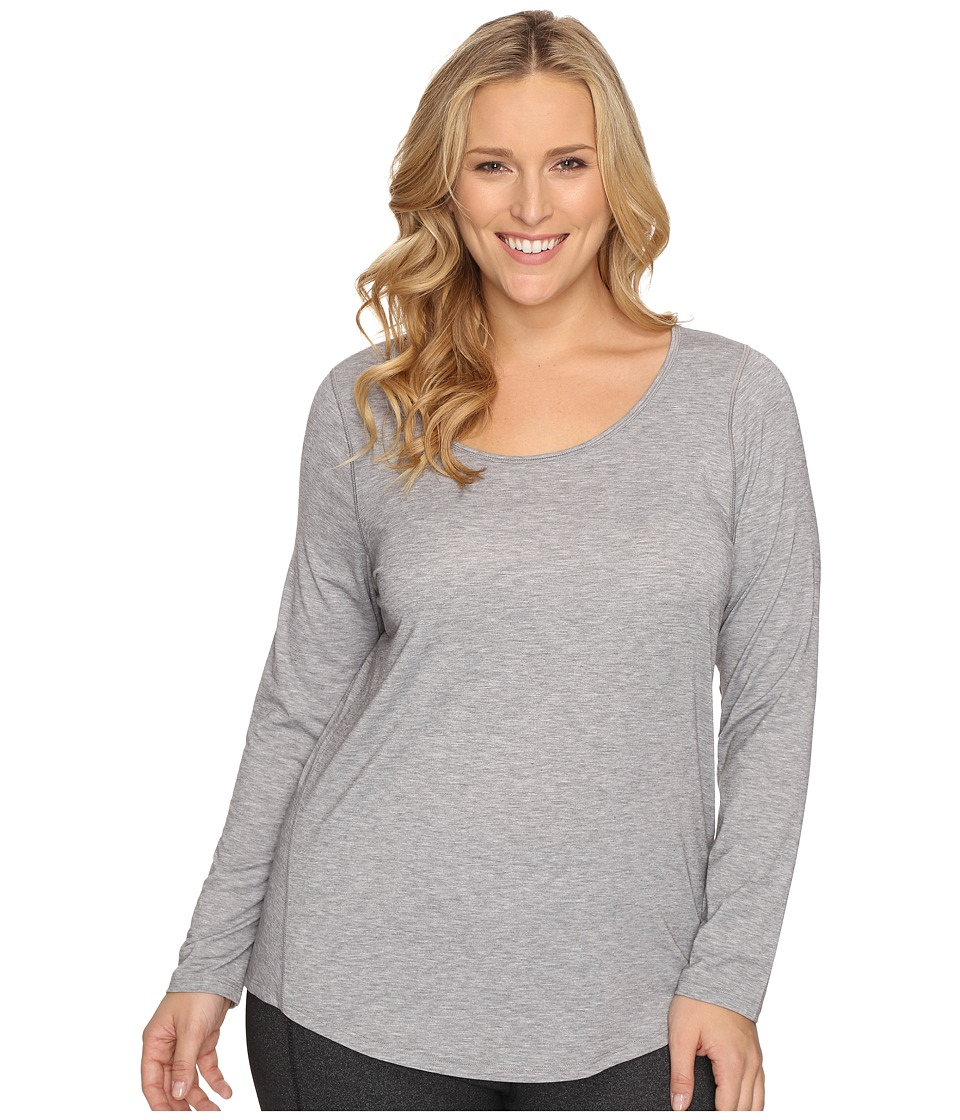 Lucy - Extended Long Sleeve Workout Tee (Asphalt Heather) Women's Workout