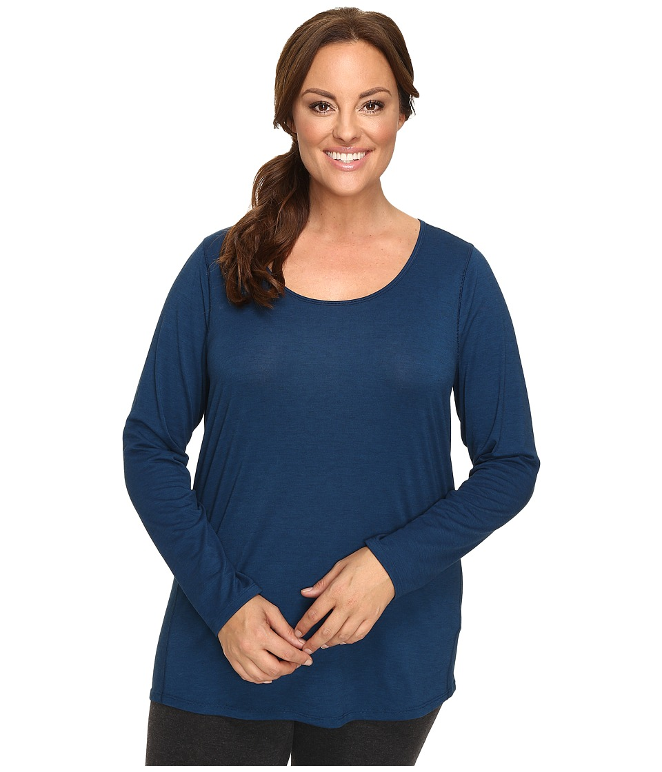 Lucy - Extended Long Sleeve Workout Tee (Poseidon/Lucy Black Heather) Women's Workout