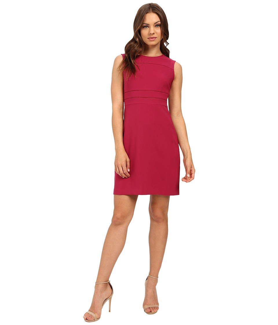Donna Morgan Crepe Fit and Flare Dress with Faggoting (Currant) Women