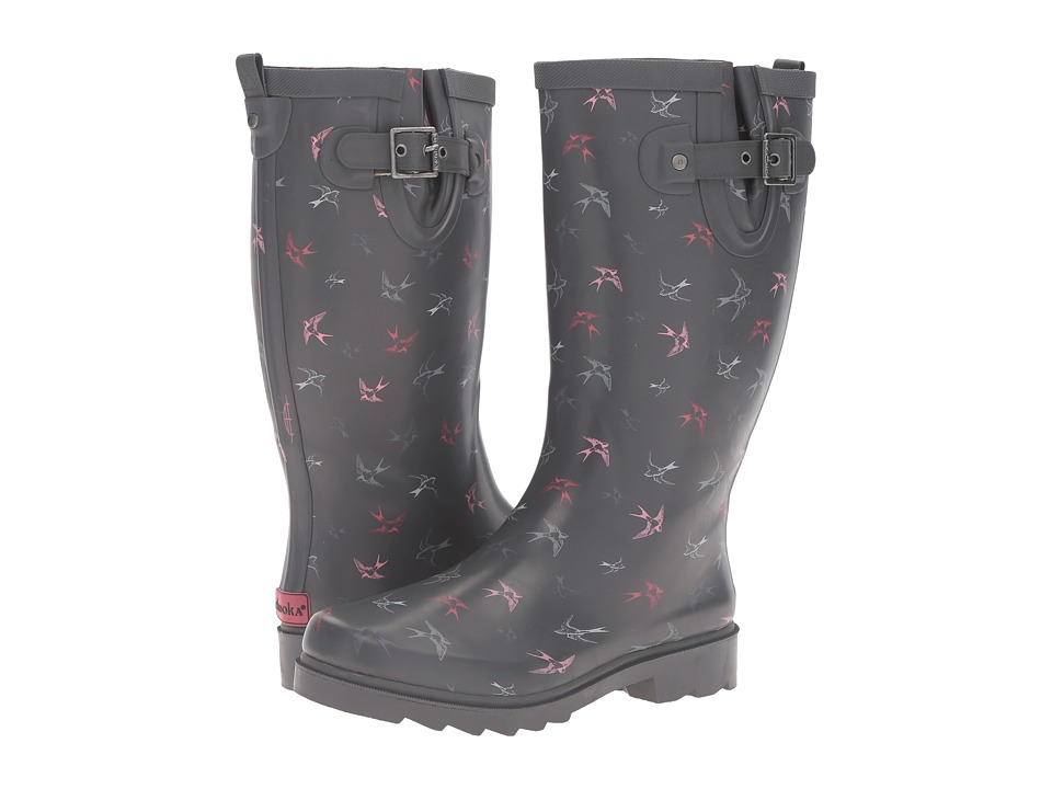 Chooka Spirited Sparrows Rain Boot (Gray) Women