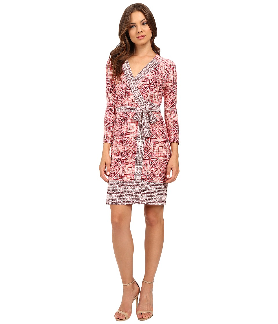 Donna Morgan - 3/4 Sleeve Wrap Matte Jersey Dress (Coral Blue Multi) Women's Dress