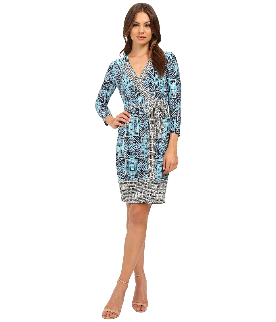 Donna Morgan - 3/4 Sleeve Wrap Matte Jersey Dress (Sky Blue Multi) Women's Dress