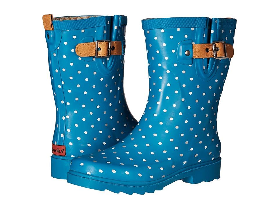 Chooka Classic Dot Mid Rain Boot (Dark Teal) Women