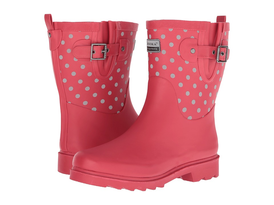Chooka Reflective Dot Mid Rain Boot (Red) Women