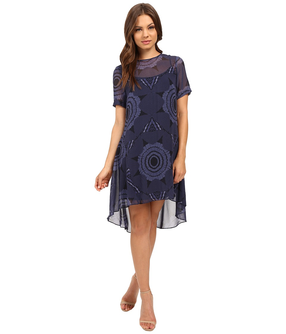 Donna Morgan - Cold Shoulder Poly Chiffon Trapeze Dress (Marine Blue Multi) Women's Dress