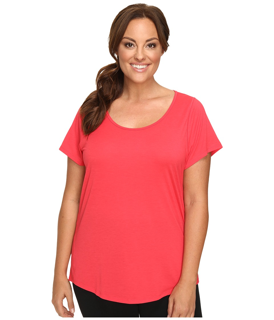 Lucy - Extended Short Sleeve Workout Tee (Passion Pink) Women's Workout