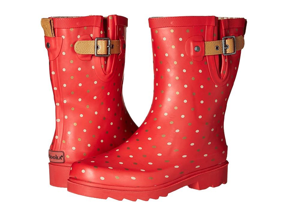 Chooka - Classic Dot Mid Rain Boot (Red) Women's Rain Boots