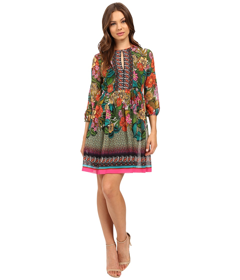 Donna Morgan - 3/4 Sleeve Printed Chiffon Dress (Pink Lotus Multi) Women's Dress