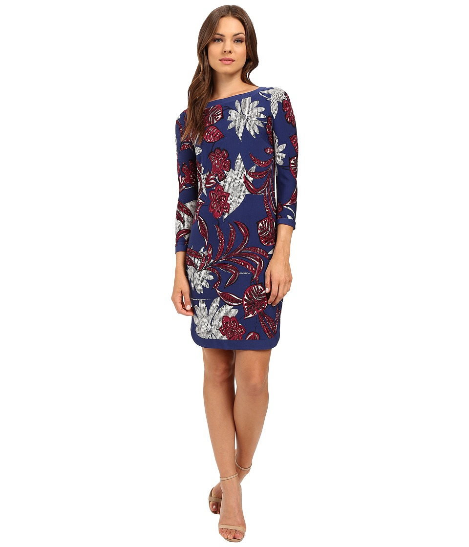 Donna Morgan - Shift Dress w/ Banding (Ink/Currant Multi) Women's Dress