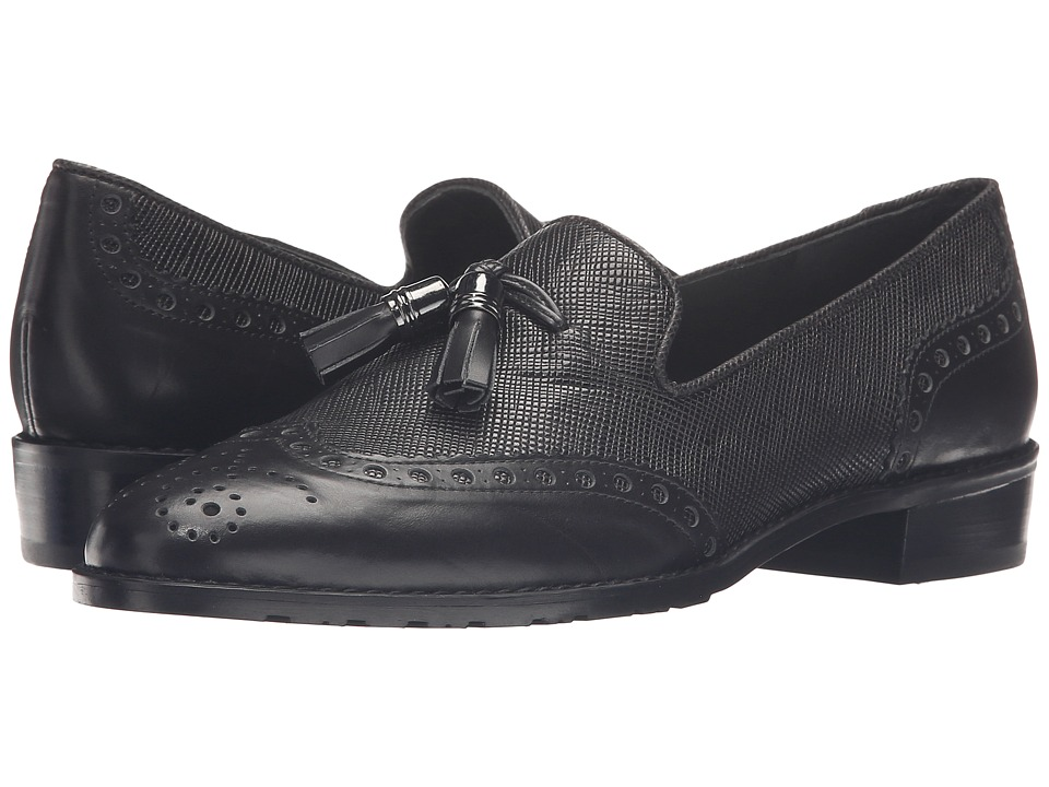Stuart Weitzman - Guything (Black Textured Calf) Women's Slip-on Dress Shoes