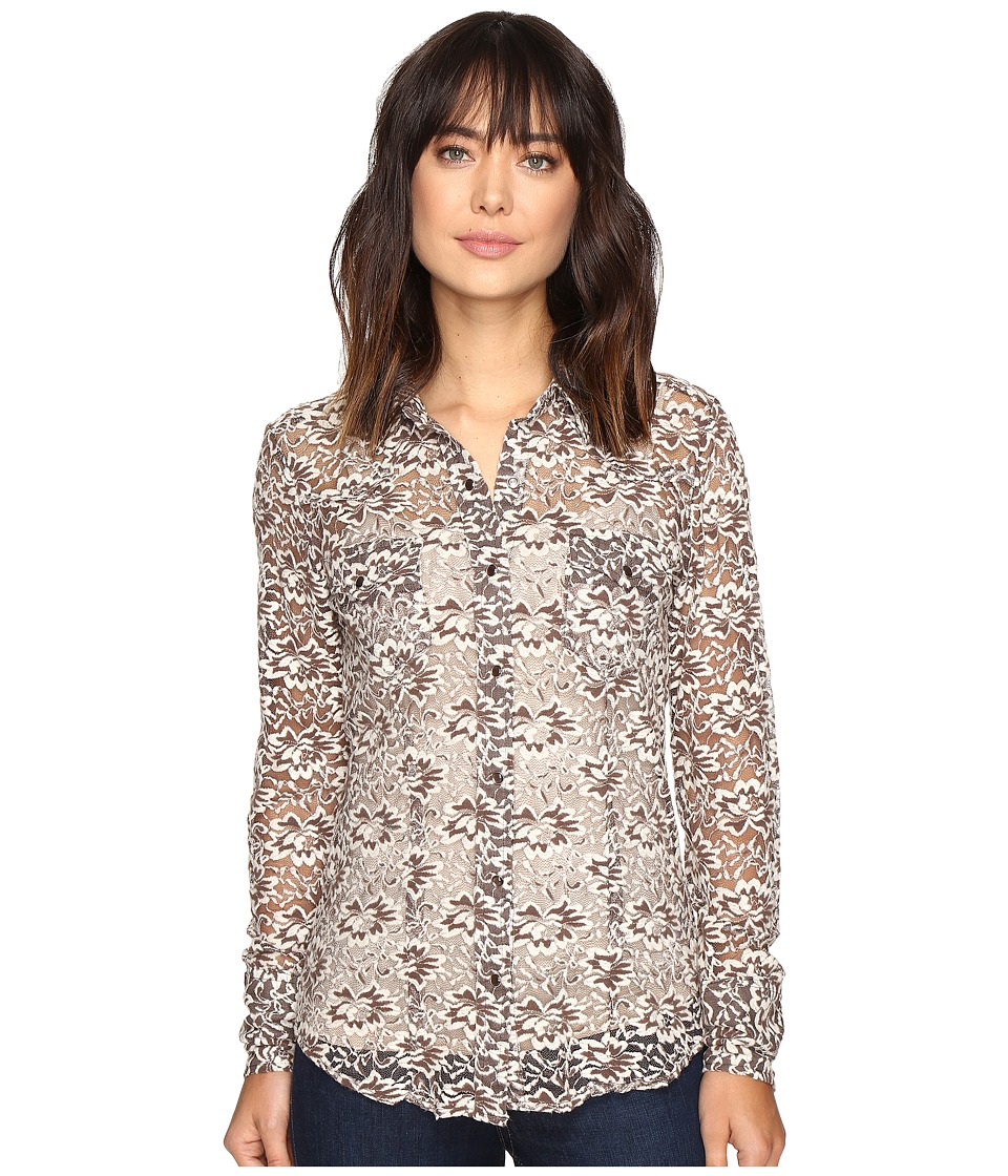 Stetson - Burnout Velvet Floral Pattern Top (Brown) Women's Clothing