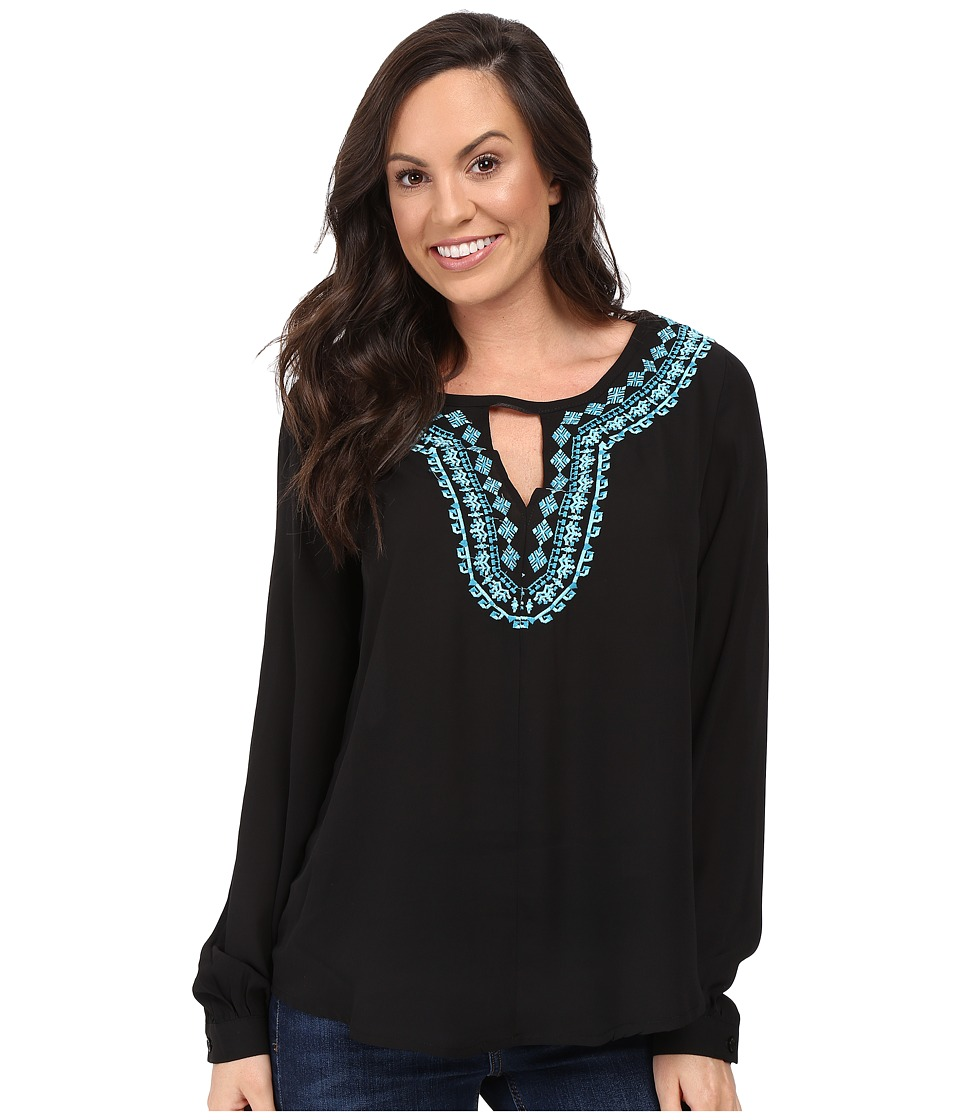 Stetson - Poly Crepe Peasant Blouse (Black) Women's Clothing