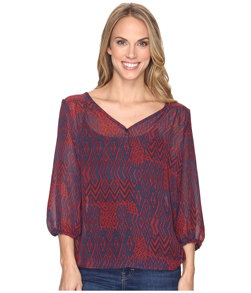 Stetson - Native Patchwork V-Neck Blouse (Red) Women's Clothing