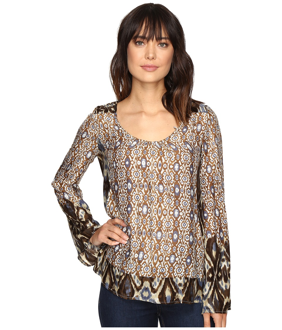 Stetson - Steel Aztec Border Print Blouse (Brown) Women's Clothing