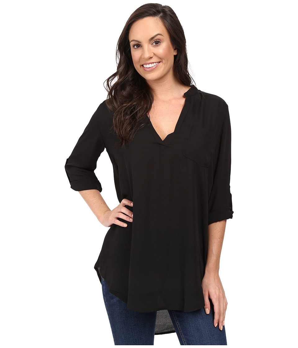 Stetson - Poly Crepe V-Neck Blouse (Black) Women's Clothing