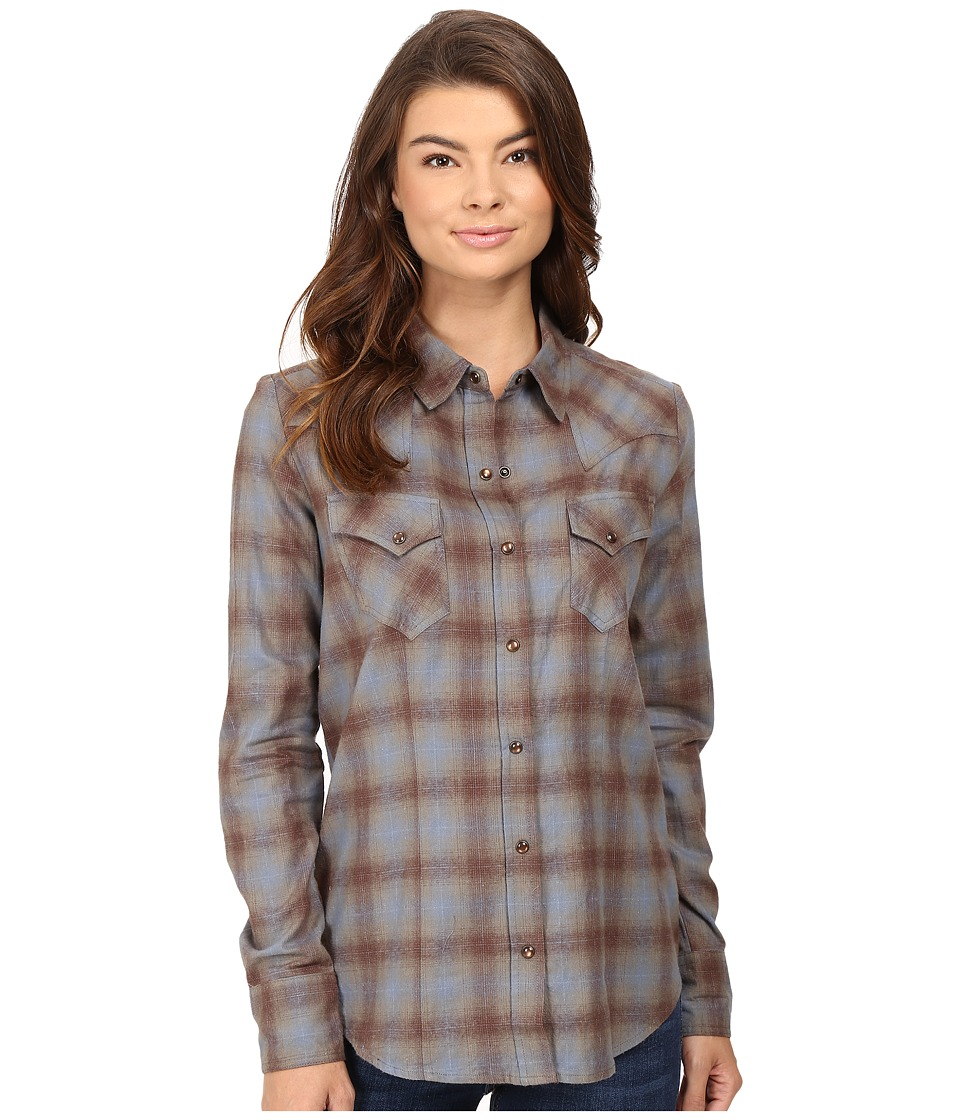 Stetson - Steal Blue Plaid Western Shirt (Blue) Women's Clothing