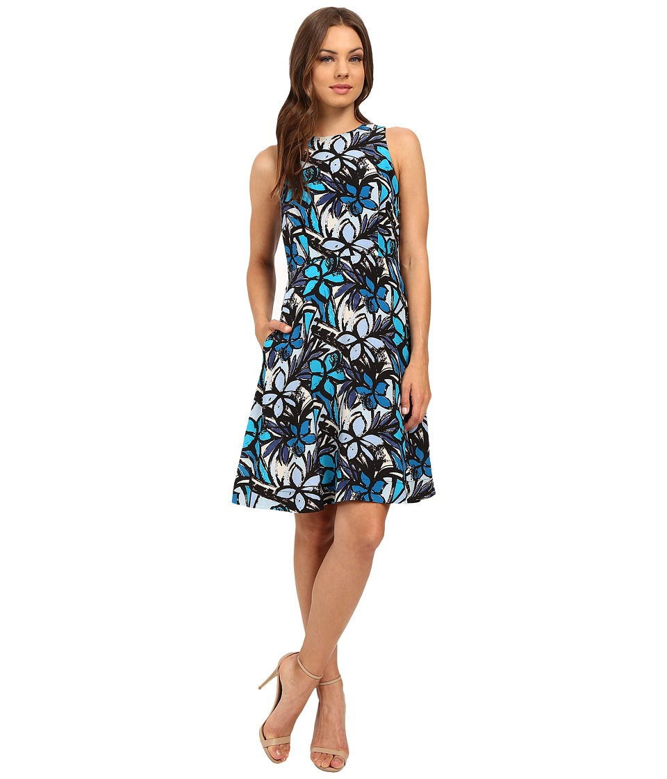 Donna Morgan - Faille Wide Strap A-Line Dress (Ink Multi) Women's Dress