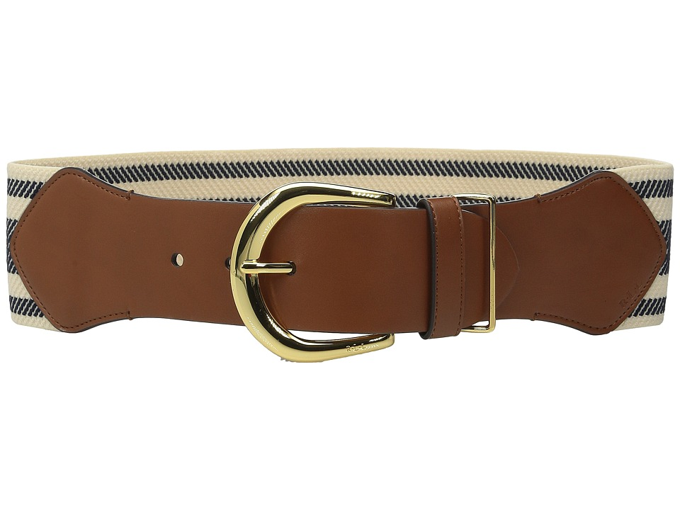 LAUREN Ralph Lauren - Stripe Stretch 3 Belt (Navy/Natural) Women's Belts
