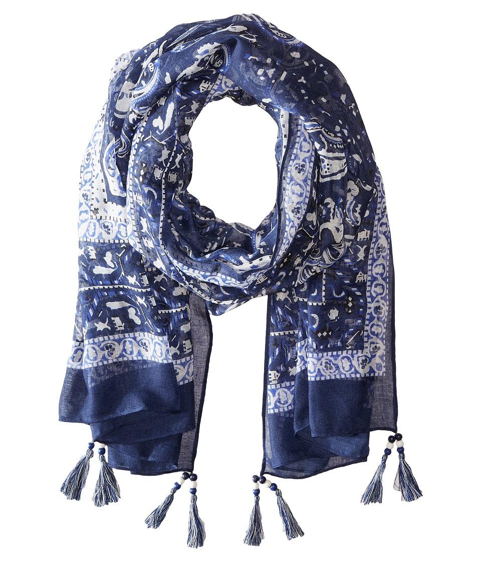 Steve Madden - Paisley Motif Bandana Day Wrap (Navy) Scarves