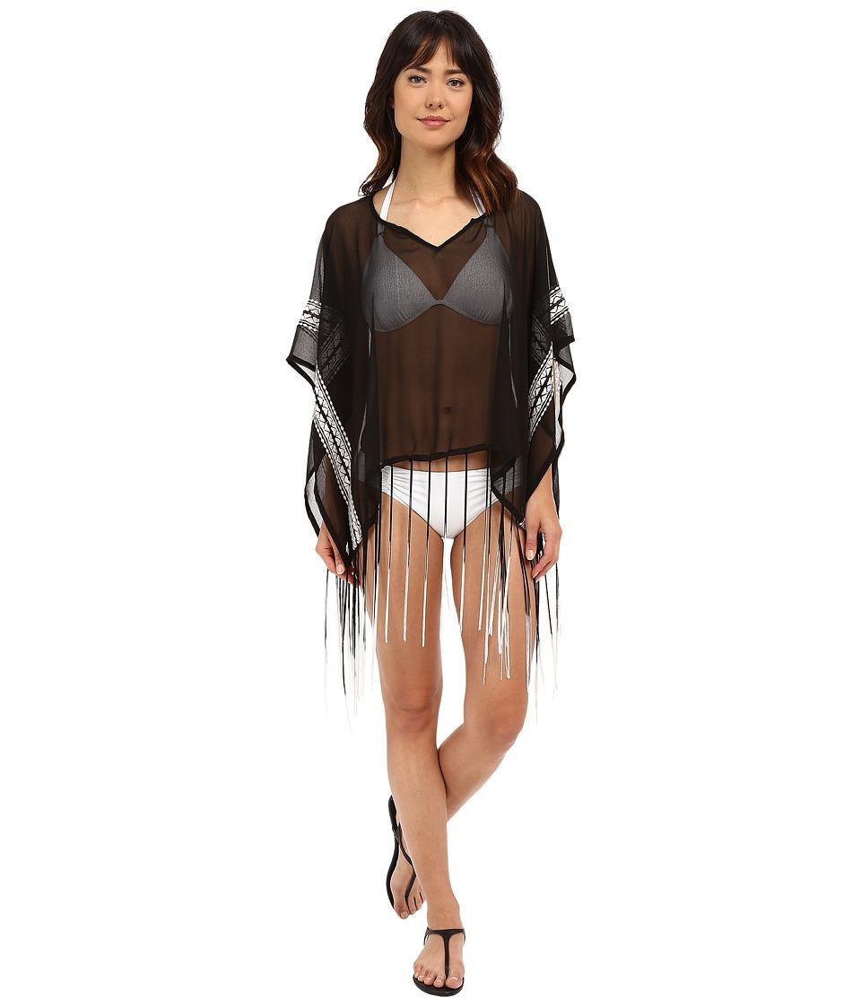 Steve Madden - Embroidered Border Split-Neck Cover-Up (Black) Women's Swimwear