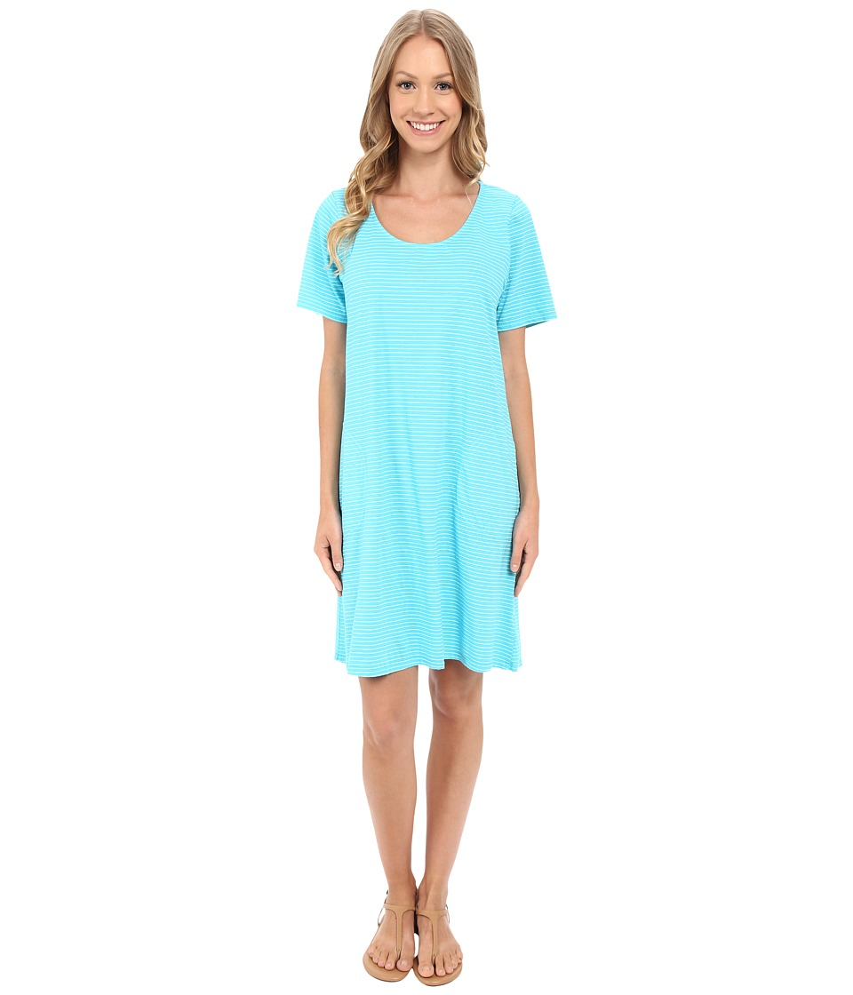 Fresh Produce - Pinstripe Allure T-Shirt Dress (Luna Turquoise) Women's Dress