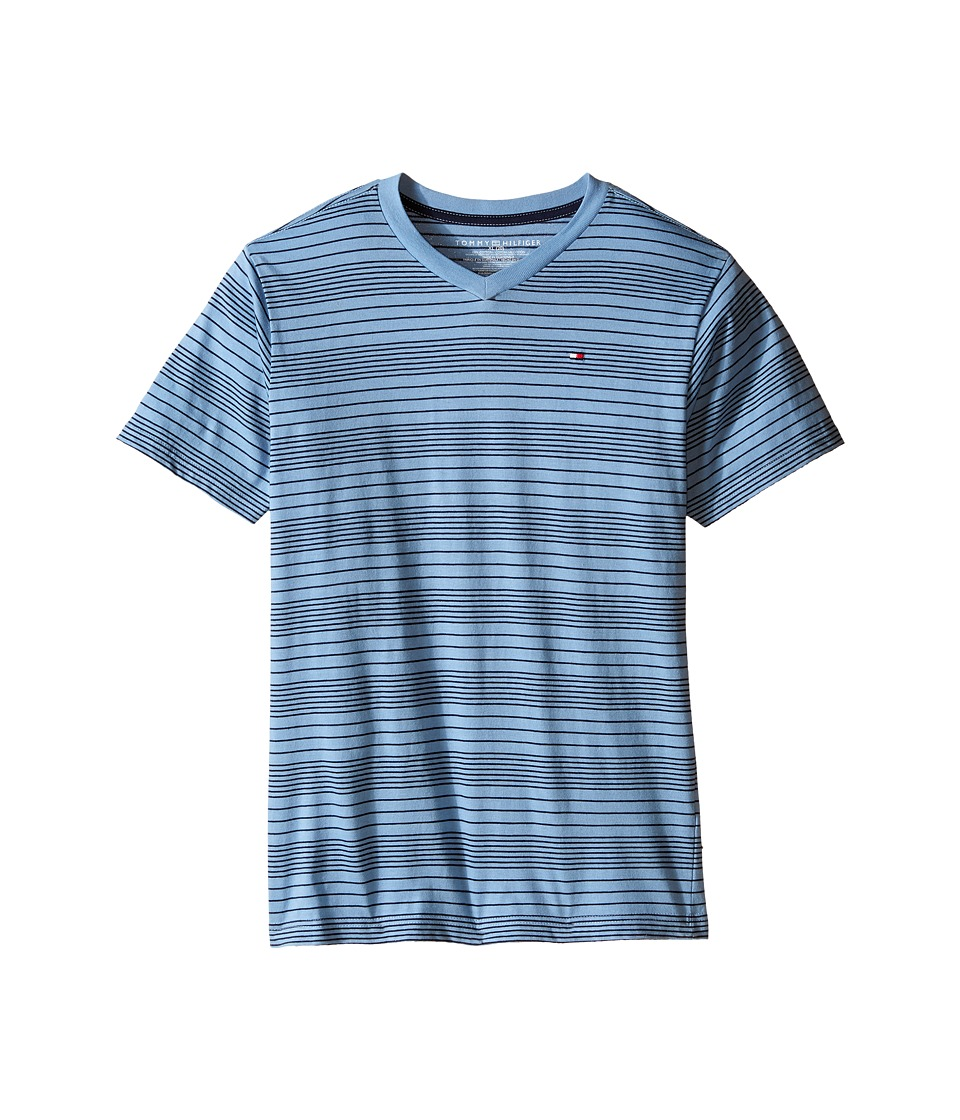 Tommy Hilfiger Kids - Larry Stripe V-Neck Tee (Big Kids) (Bambino) Boy's T Shirt