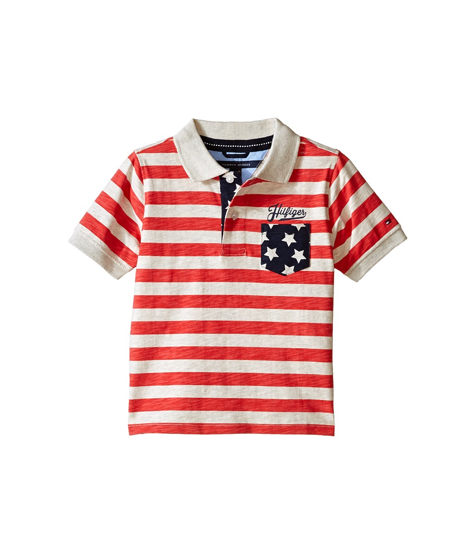 Tommy Hilfiger Kids - Americana Short Sleeve Polo (Toddler/Little Kids) (Red Geranium) Boy's Short Sleeve Knit