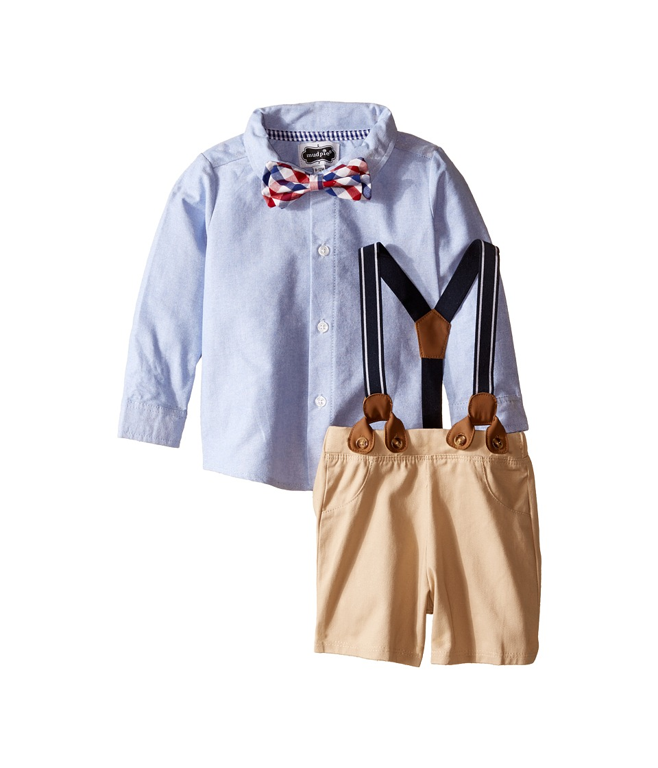 Mud Pie - Suspender Shorts Set (Infant) (Blue/Beige) Boy's Shorts